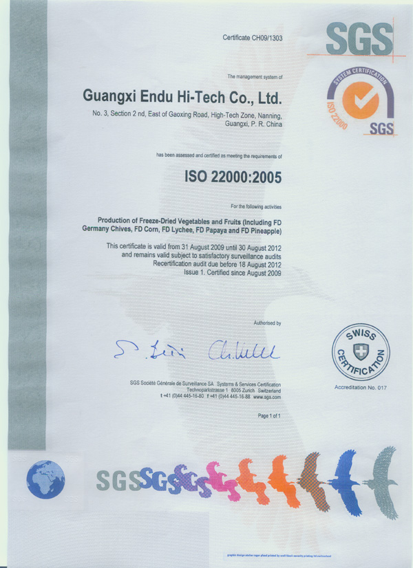 Freeze dried food iso 22000 2005 certificate of guangxi